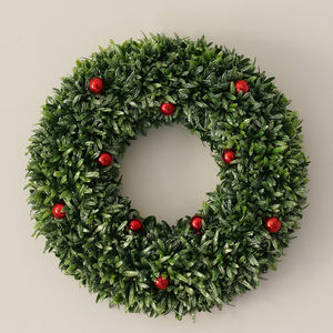 Holly And Red Berry Wreath - outdoor decorations