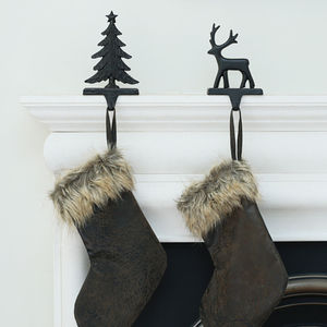 Cast Iron Reindeer Or Tree Stocking Holder - fireplace accessories