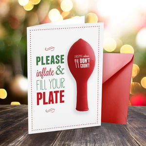 'Christmas Calories Don't Count' Balloon Card - christmas