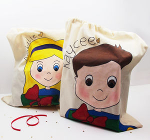 Hand Painted Personalised Christmas Santa Sack