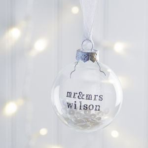 Personalised Mr And Mrs Glass Bauble With Sequins