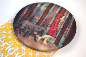Red Riding Hood Large Fabric Badge - women's jewellery
