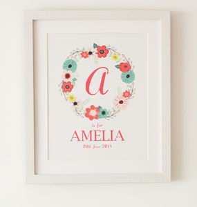 'Posy' Personalised Print New Baby Girl Present - pictures & prints for children