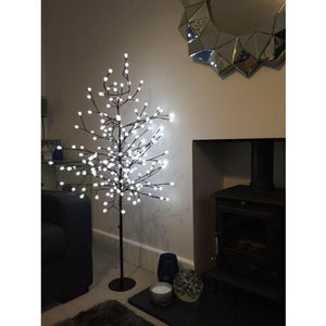 152cm White Berry Tree With LED Lights - lights & lanterns