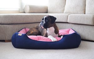 Rectangular Denim Bed With Gingham Check Interior - dogs