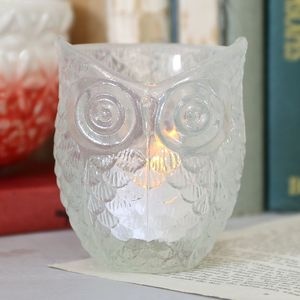 Glass Owl Tealight Holder - lighting