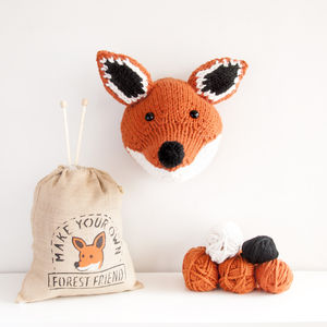 Make Your Own Faux Fox Knitting Kit - gifts for knitters
