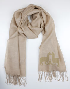 The Alpaca Co. Monogrammed Scarf Natural - pashminas & wraps