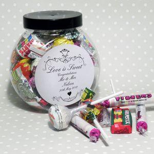Ornate Swirl Love Is Sweet Personalised Jar - sweet treats