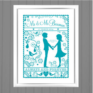 Folk Love Personalised Wedding / Anniversary Art Print - posters & prints