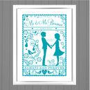 Folk Love Personalised Wedding / Anniversary Art Print