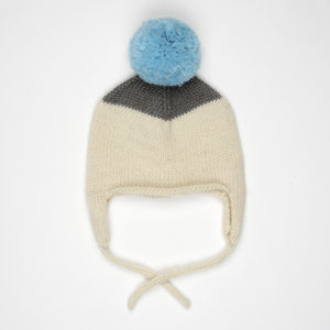 Two Tone Alpaca Baby Hat With Pompom And Earflaps