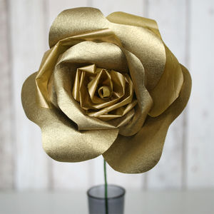 Golden Paper Rose - silk & paper flowers
