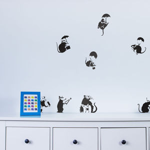 Banksy Rats Wall Art Decal Pack - home decorating
