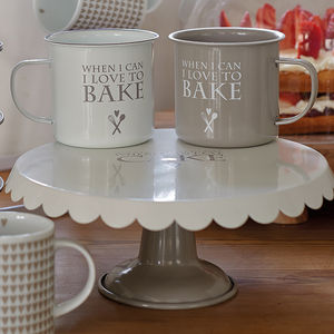 Beige Heart Enamel Cake Stand - cake stands