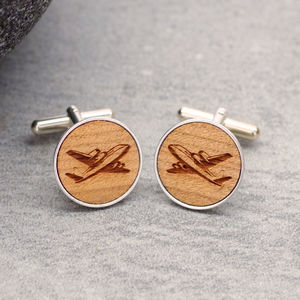 Wooden Aeroplane Cufflinks - gifts for travel-lovers