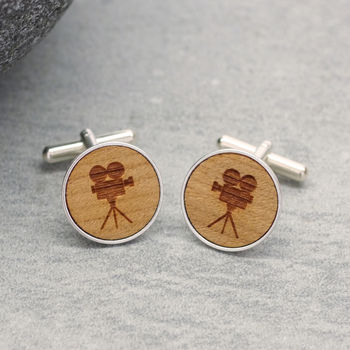 Wooden Film Camera Cufflinks
