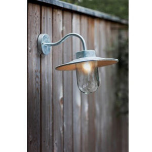 St Ives Galvanised Swan Neck Wall Light - lighting