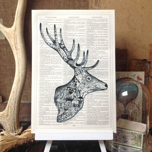 'Tattoo Stag' Dictionary Book Page Art Print