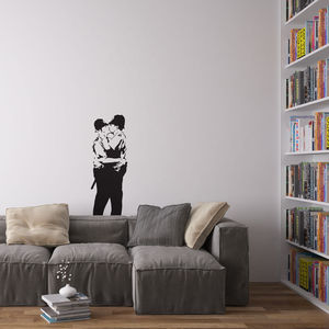 Banksy Policemen In Love Vinyl Wall Art Decal - wall stickers