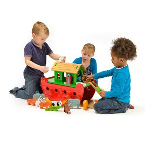 Painted Wooden Noahs Ark - for babies