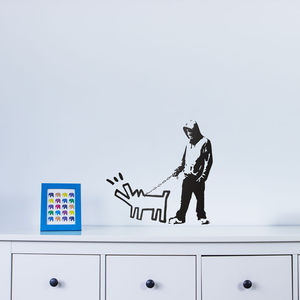 Banksy Dog Barking At Intruder Wall Art - wall stickers
