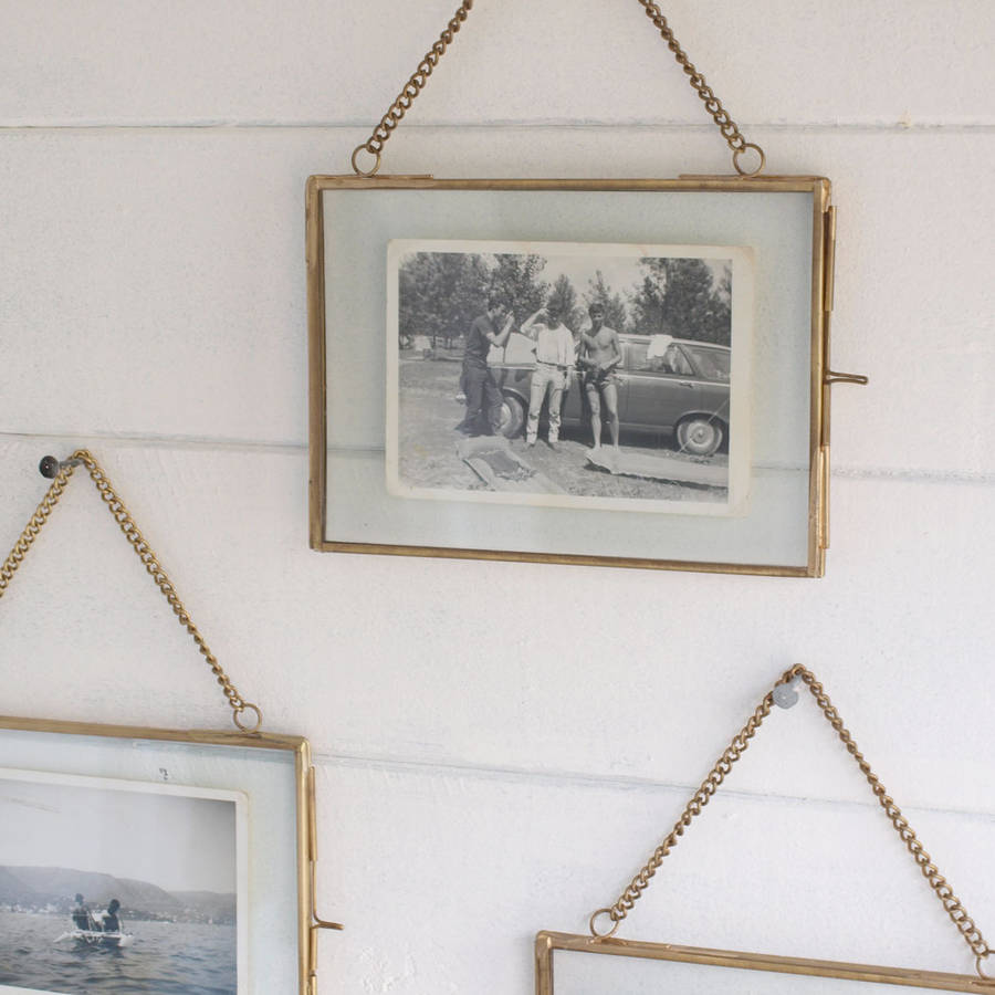 Hanging brass photo frame by idyll home for Hanging frames on walls