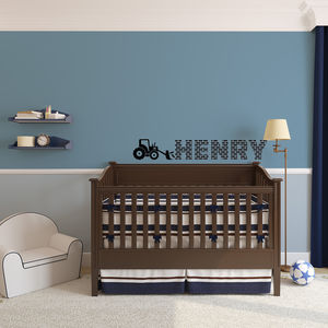 Boy's Personalised Tractor Wall Art - bedroom