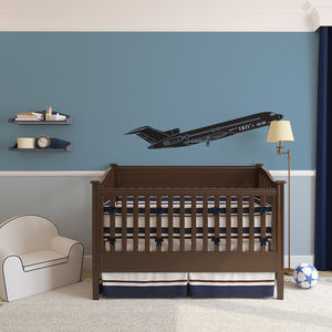 Boy's Personalised Airplane Vinyl Wall Art - children's room