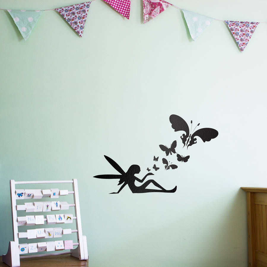 Fairy Butterflies Wall Art Decal For Kids & fairy butterflies wall art decal for kids by vinyl revolution ...