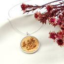 Wooden Floral Disc Necklace