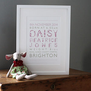 Personalised Girl Birth Print - pictures & prints for children