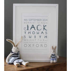 Personalised Boy's Birth Print - gifts for babies