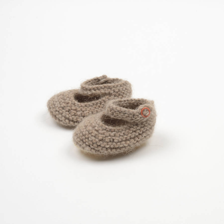 hand knitted mary jane baby booties by petite albion notonthehighstreet.com