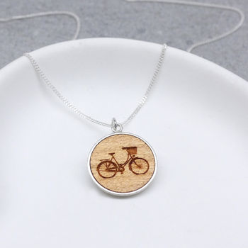 Wooden Bicycle Disc Necklace