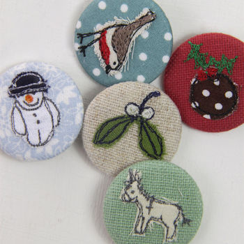 Hand Embroidered Christmas Badges In Five Designs