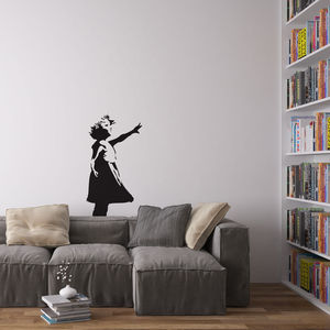 Banksy Girl Reaching Vinyl Wall Decal - wall stickers