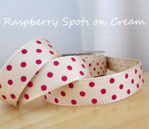 3m Raspberry Spot On Cream Grosgrain Ribbon - shop by category