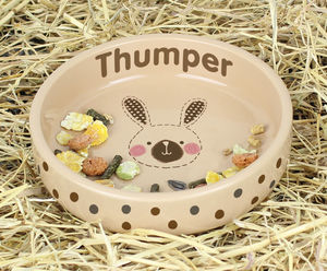 Personalised Bunny Food Bowl - dog bowls & mats