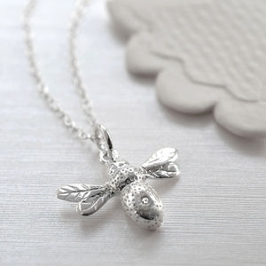 Silver Diamond Kissed Bee Charm Necklace