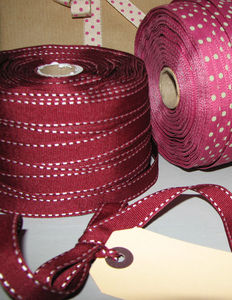 3m Burgundy Stitched Grosgrain Ribbon