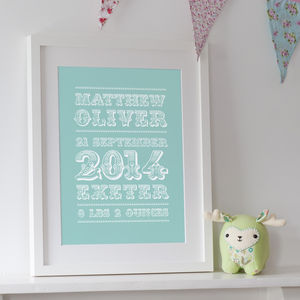 Personalised Birth Art Print