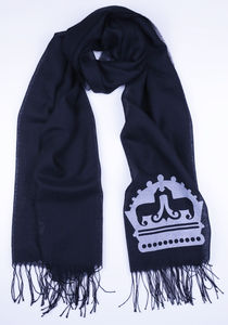 The Alpaca Co. Monogrammed Scarf Black - pashminas & wraps
