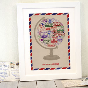 Personalised Passport Stamp Globe Print - frequent traveller
