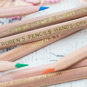 12 Personalised Natural Wood Colouring Pencils - stocking fillers