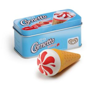 Tin Containing A Wooden Cornetto Ice Cream Toy