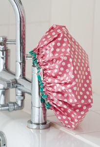 Shower Cap In Watermelon Red Spotty Dotty Print - bathroom