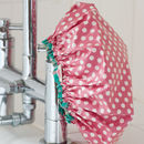 Waterproof Shower Cap In Red Spotty Print