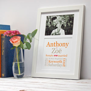 Personalised Typographic Wedding Photo Print - 100 best wedding prints