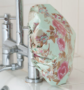 Shower Cap In Blue Rose Print - bathroom